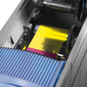 Datacard Printers Australia - Opened and displaying the colour ribbon