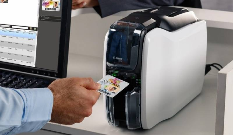 Zebra ZC100 Card Printer in operation